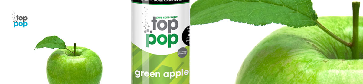 Top Pop Green Apple flavored soda's
