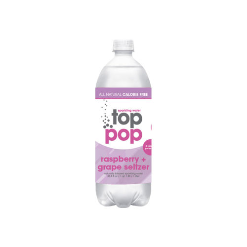 Top Pop Sparkling Seltzer Water Raspberry Grape 1 Liter